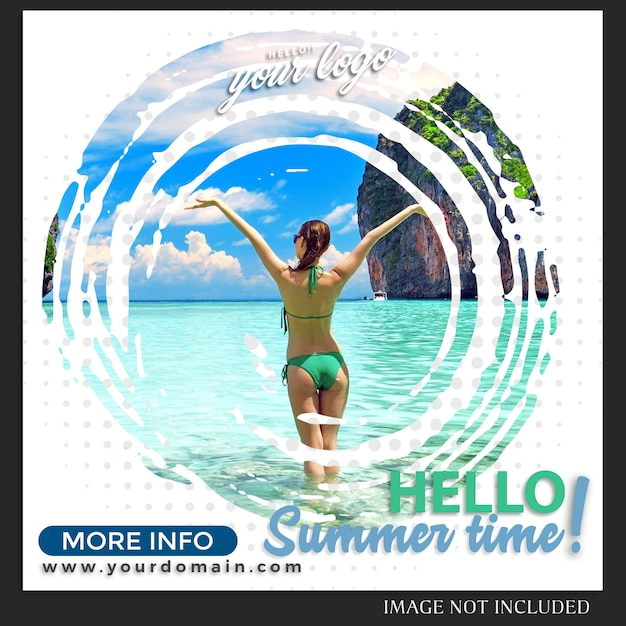 Instagram  summer holiday travel post template Premium Psd