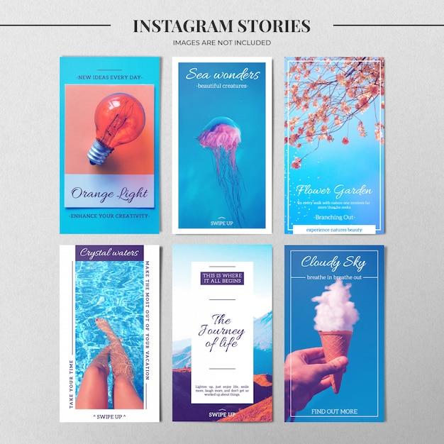 青いinstagramストーリーテンプレート Premium Psd