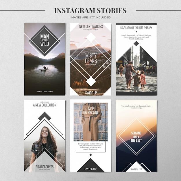 最小限のinstagramストーリーテンプレート Premium Psd