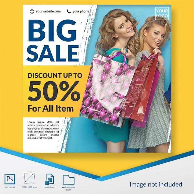 Специальная большая распродажа модных скидок квадратный баннер или шаблон поста в instagram Premium Psd