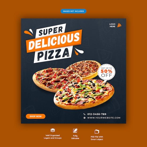 Пицца или фаст-фуд меню социальные медиа instagram пост шаблон Premium Psd