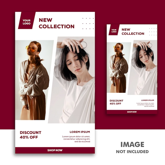 ソーシャルメディアバナーテンプレートinstagramストーリー、ファッションガールの新しいコレクション Premium Psd