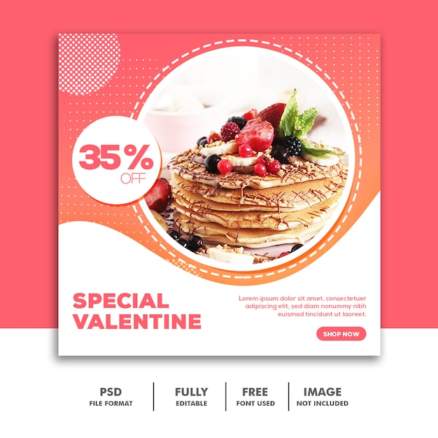 バレンタインバナーソーシャルメディア投稿instagram Premium Psd