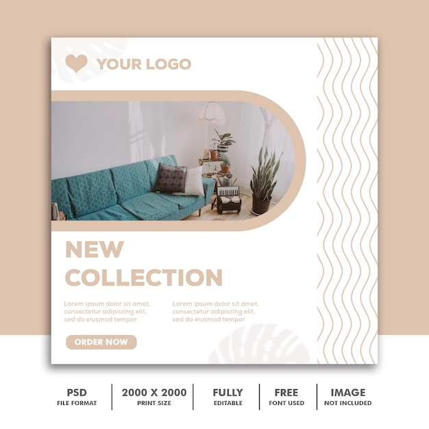 Instagram、家具建築装飾エレガントクリームの正方形バナーテンプレート Premium Psd