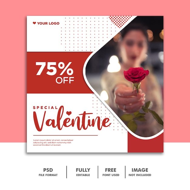 ソーシャルメディアポストバレンタインバナーinstagram、ローズレッド Premium Psd