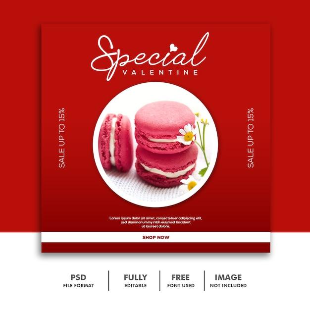 ケーキフードバレンタインバナーソーシャルメディアポストinstagram赤 Premium Psd