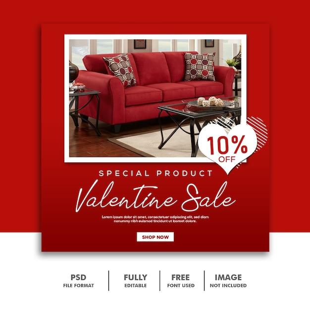 バレンタインバナーソーシャルメディア投稿instagram家具レッドセール Premium Psd