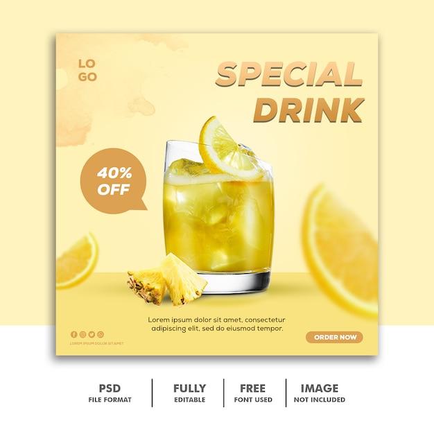 ソーシャルメディアの投稿instagramバナーテンプレート食品特別な飲み物 Premium Psd