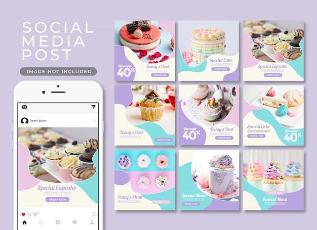 Пост в instagram или квадратный баннер. коллекция шаблонов десерта и торта Premium Psd