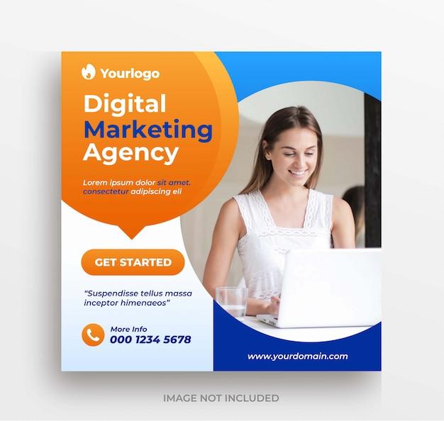 Онлайн бизнес маркетинговое агентство instagram сообщение или баннер шаблон площади Premium Psd