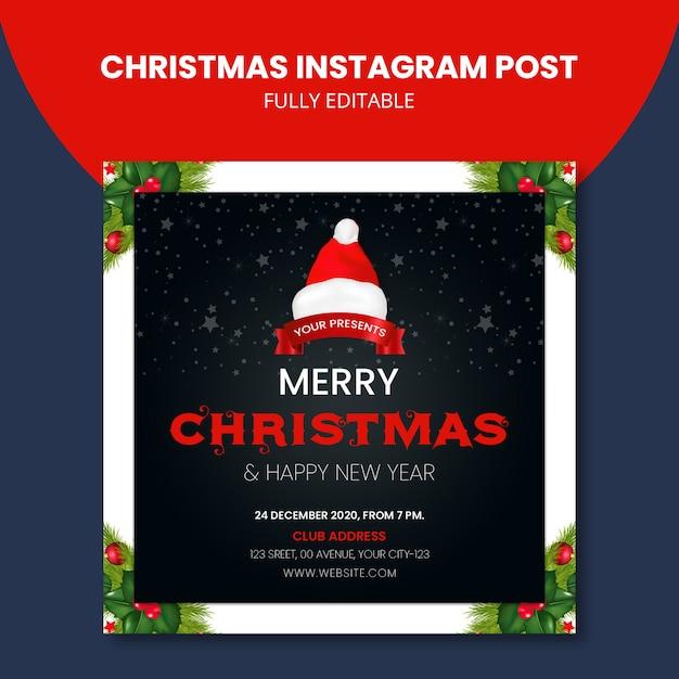 Рождественский пост в instagram Premium Psd