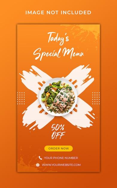 Здоровое питание меню продвижение instagram истории баннер шаблон Premium Psd