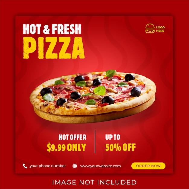 Пицца меню продвижение в социальных сетях instagram пост баннер шаблон Premium Psd