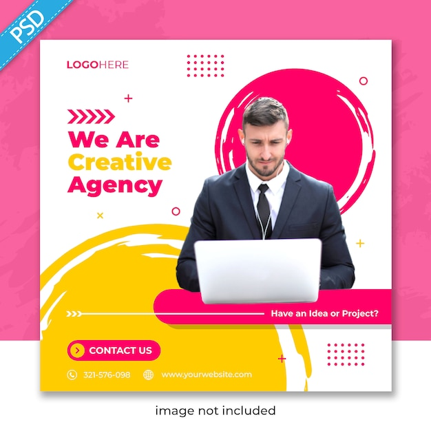 Бизнес продвижение и корпоративные для социальных медиа instagram пост баннер шаблон Premium Psd