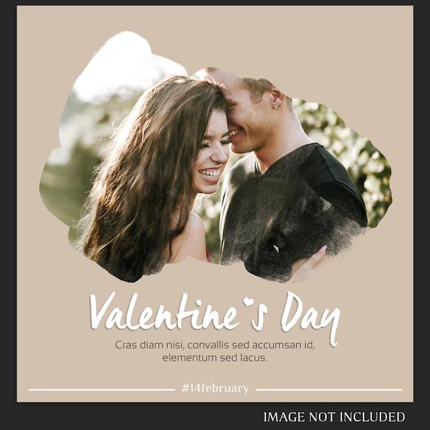 クリエイティブモダンロマンチックバレンタインデーinstagramのポストテンプレートと写真モックアップ Premium Psd