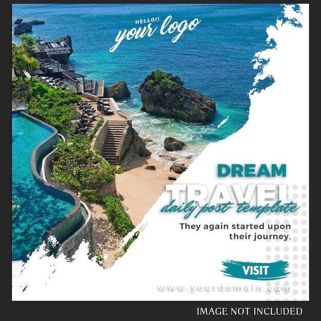 旅行や休暇のinstagramのポストテンプレート Premium Psd