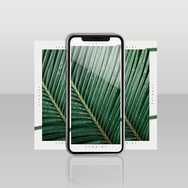 Шаблон поста в instagram с смартфоном и цветочной концепцией Бесплатные Psd
