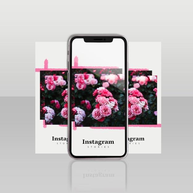 スマートフォンと花のコンセプトを持つinstagramの投稿テンプレート 無料 Psd