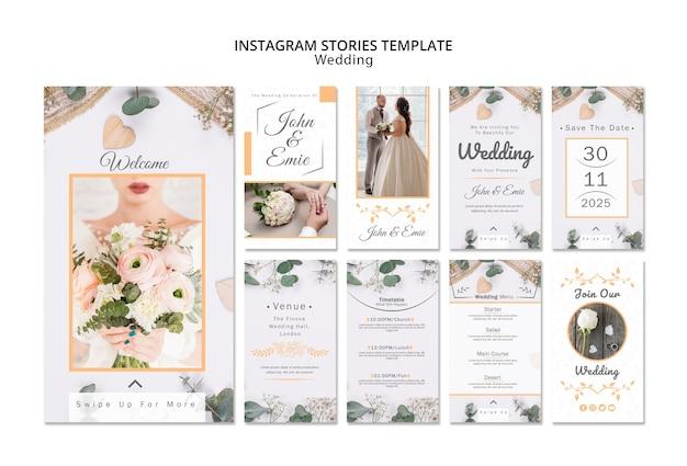 Шаблон истории свадебного instagram Бесплатные Psd