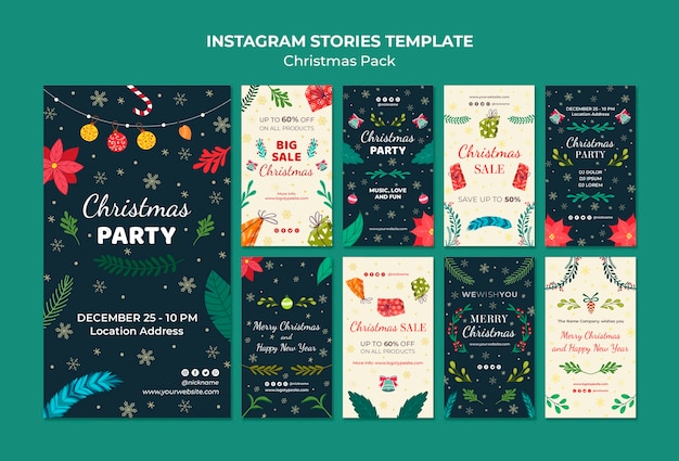 Новогодний пакет шаблонов из instagram Бесплатные Psd