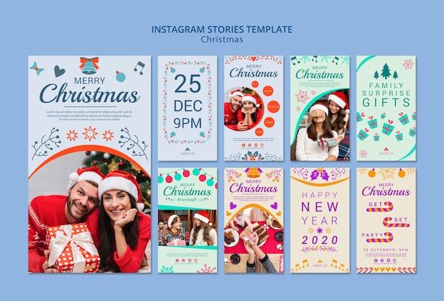 Набор шаблонов рождественских историй instagram Бесплатные Psd