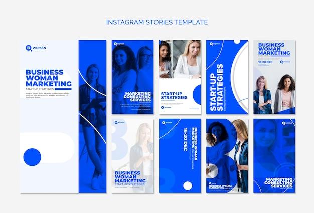 ビジネスの女性とinstagramストーリーテンプレート 無料 Psd