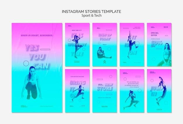Шаблон истории тренировок в instagram Бесплатные Psd