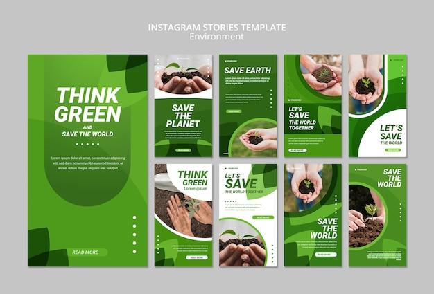 Подумайте зеленый шаблон истории instagram Бесплатные Psd