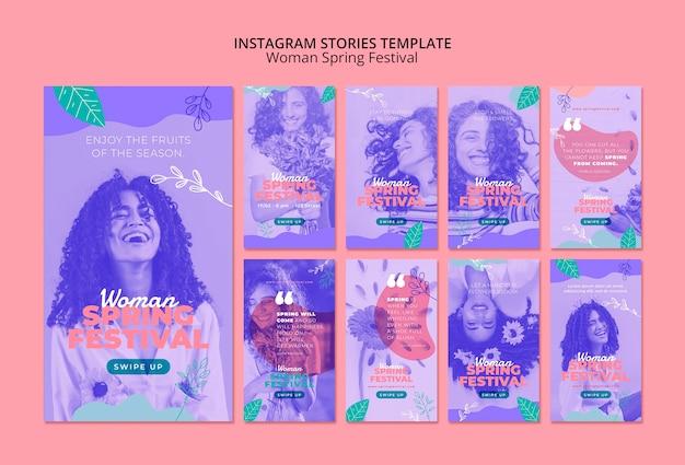 女性の春祭りとinstagramの物語 無料 Psd