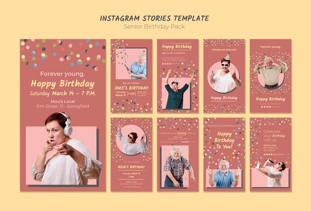 Шаблон рассказов старшего дня рождения instagram Бесплатные Psd