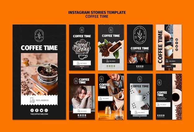 Шаблон истории кофе и шоколада время instagram Бесплатные Psd