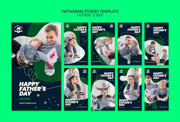 Шаблон instagram-историй для дня отца Бесплатные Psd