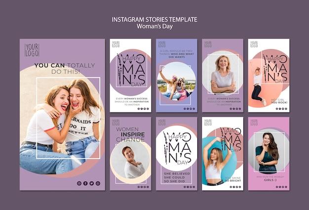Тема женский день для шаблона истории instagram Бесплатные Psd