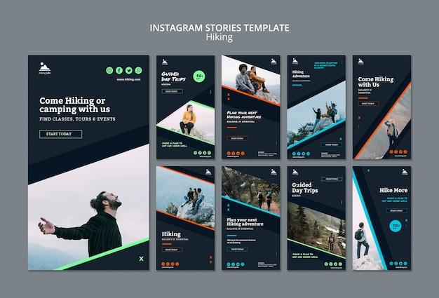 Шаблон истории instagram с темой для пеших прогулок Бесплатные Psd