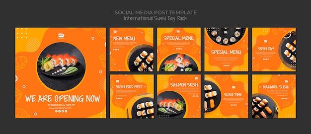 Коллекция постов в социальных сетях instagram для суши-ресторана Бесплатные Psd
