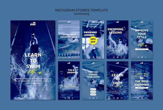 Шаблон рассказов instagram по урокам плавания Бесплатные Psd