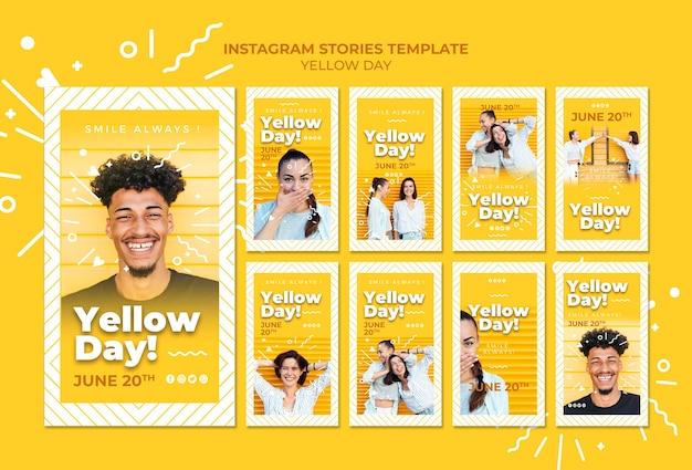 Шаблон рассказов instagram желтый день Бесплатные Psd