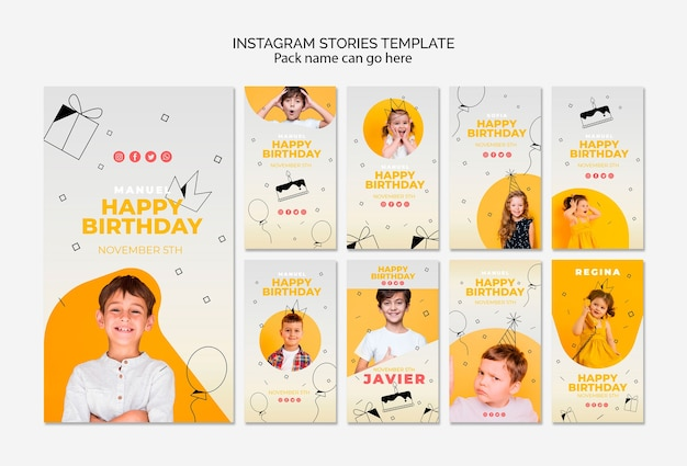 Шаблон instagram истории с днем рождения Бесплатные Psd