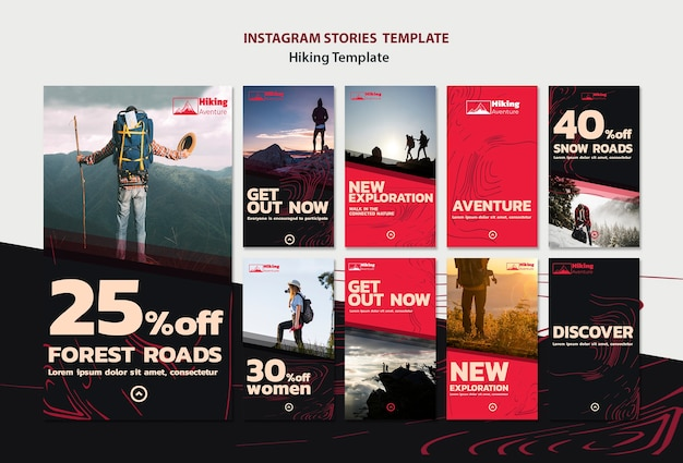Шаблон истории походов в instagram Бесплатные Psd