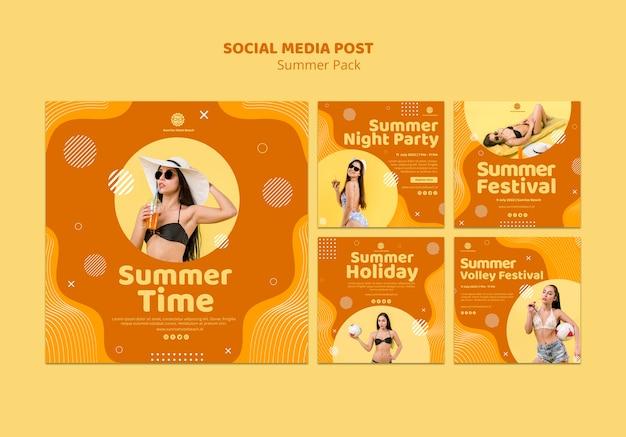 Коллекция постов в instagram для летних каникул Бесплатные Psd