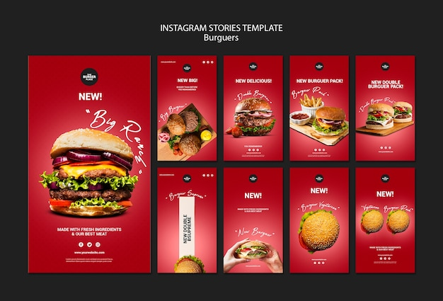 バーガーレストランのinstagramストーリーコレクション 無料 Psd