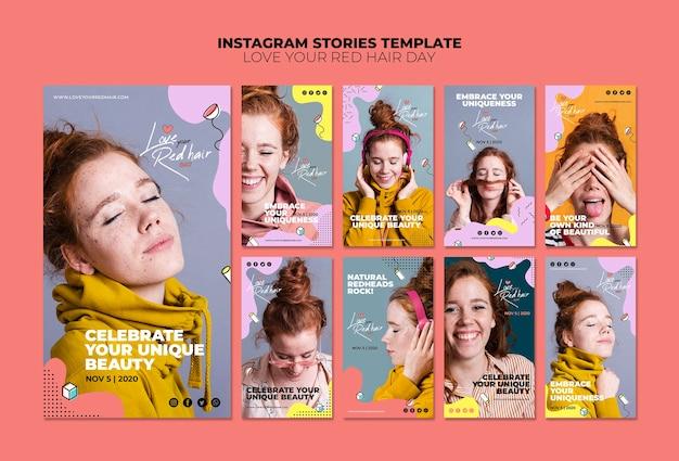 Красные волосы день концепция instagram рассказы шаблон Бесплатные Psd