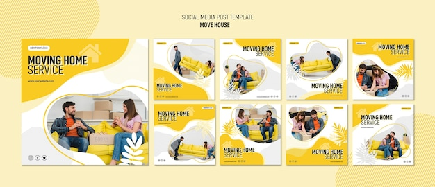 住宅移転サービスのためのinstagram投稿コレクション 無料 Psd