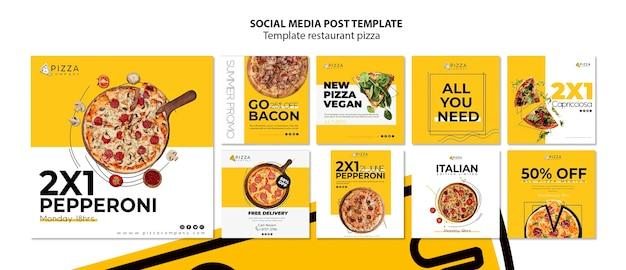 Коллекция постов в instagram для пиццерии Бесплатные Psd
