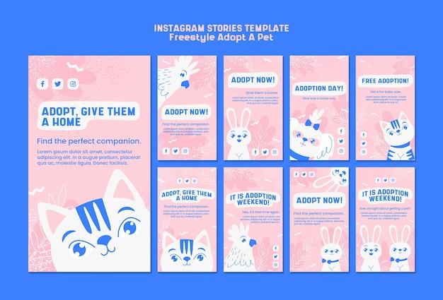 Instagram истории с концепцией принятия питомца Бесплатные Psd