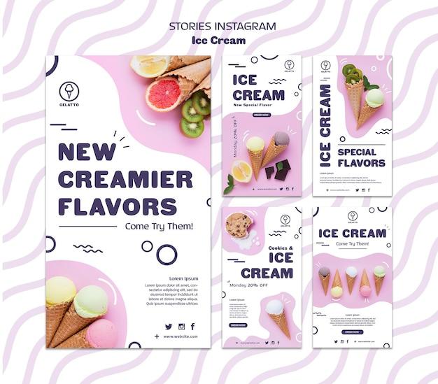Шаблон истории мороженого instagram Бесплатные Psd