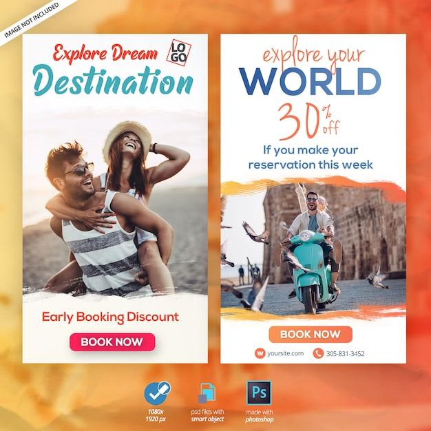 Путешествия каникулы туризм instagram истории веб-баннер Premium Psd