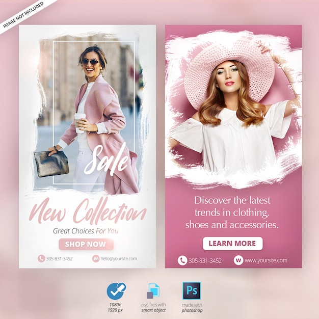 Модные instagram истории объявления баннеры Premium Psd