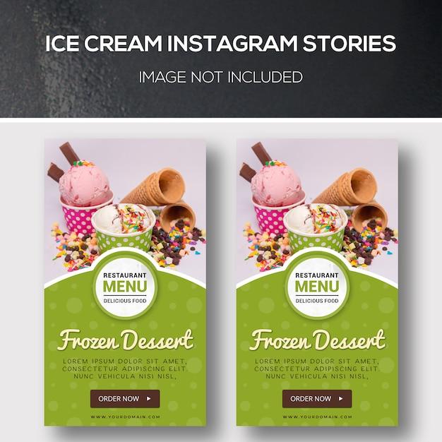Истории из мороженого в instagram Premium Psd