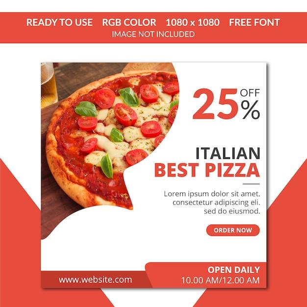 Пицца instagram пост или квадратный баннер Premium Psd